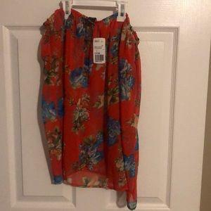 Strapless orange floral chiffon blouse
